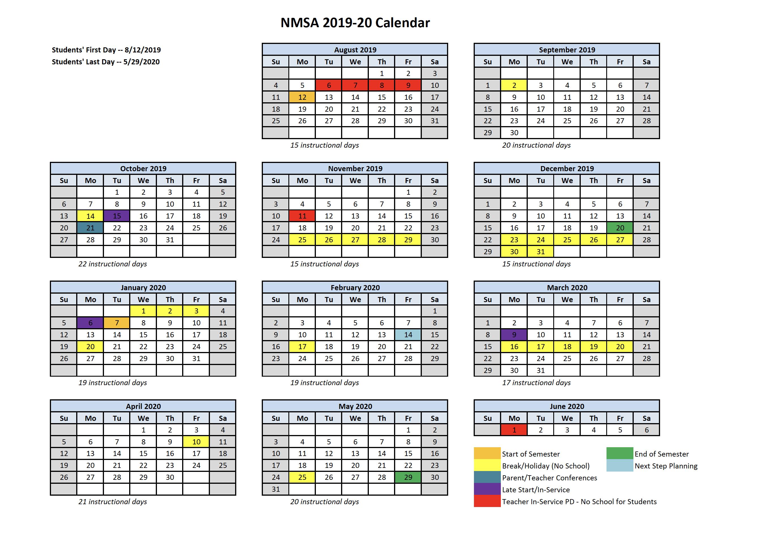 School Year Calendar - New Mexico School for the Arts